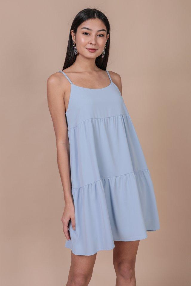 Emmy Tiered Spag Dress (Sky)
