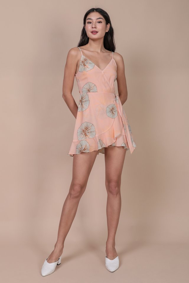 Gwen Wrap Front Romper (Pink Posies)