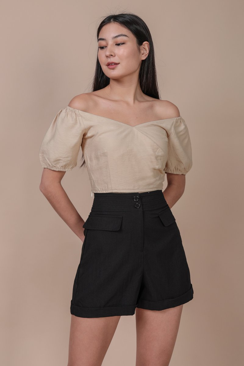 Anders Button Shorts (Black)