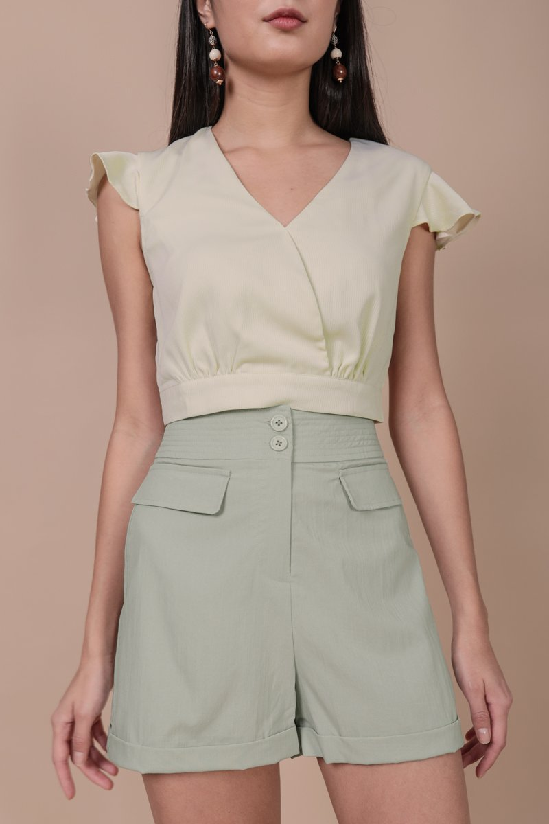 Anders Button Shorts (Light Sage)