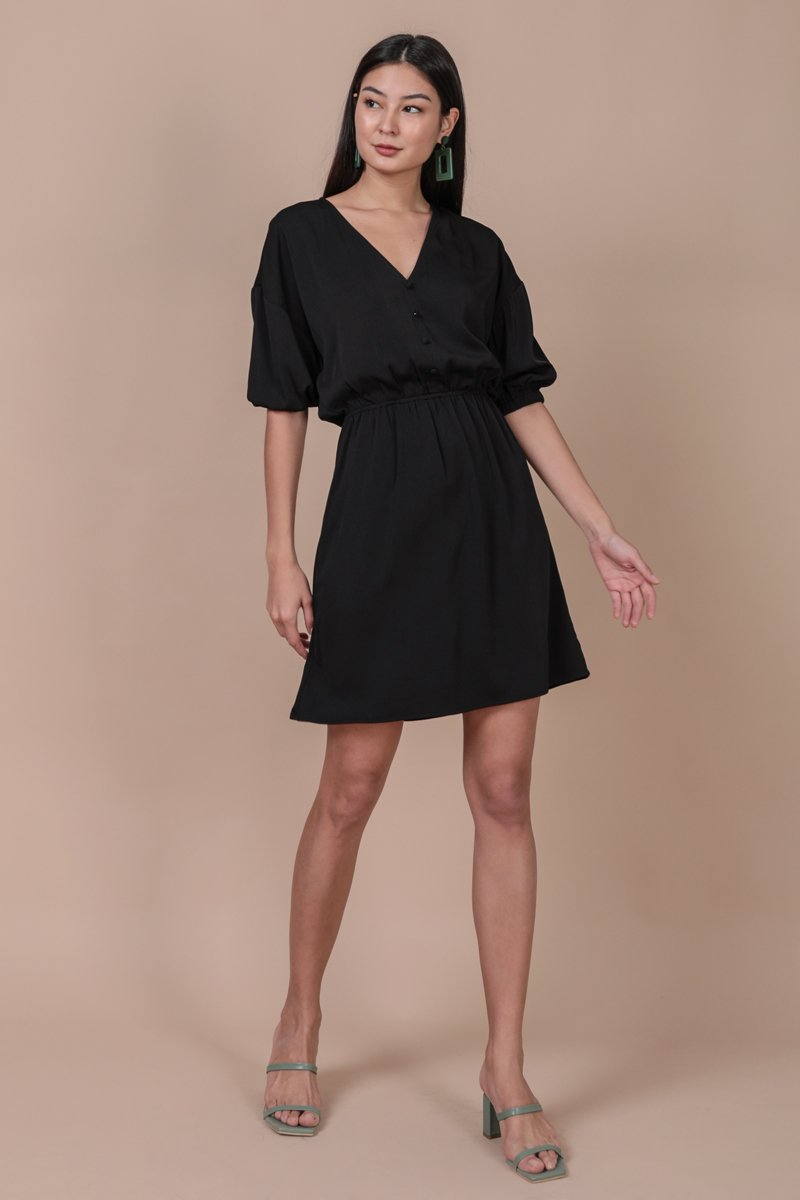 Sania Button Dress (Black)