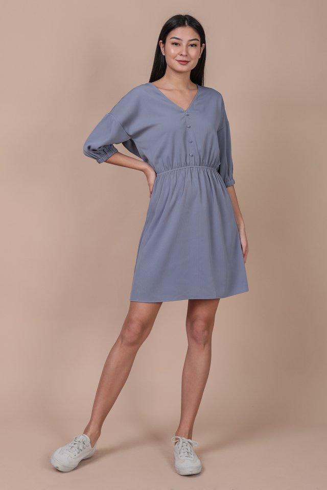 Sania Button Dress (Dusty Blue)