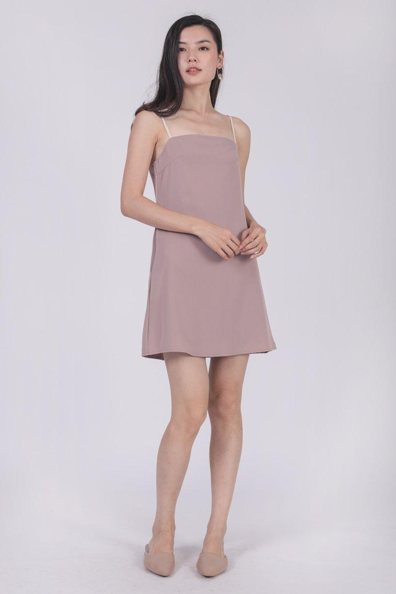 Alfie Contrast Strap Dress (Ash Lilac)