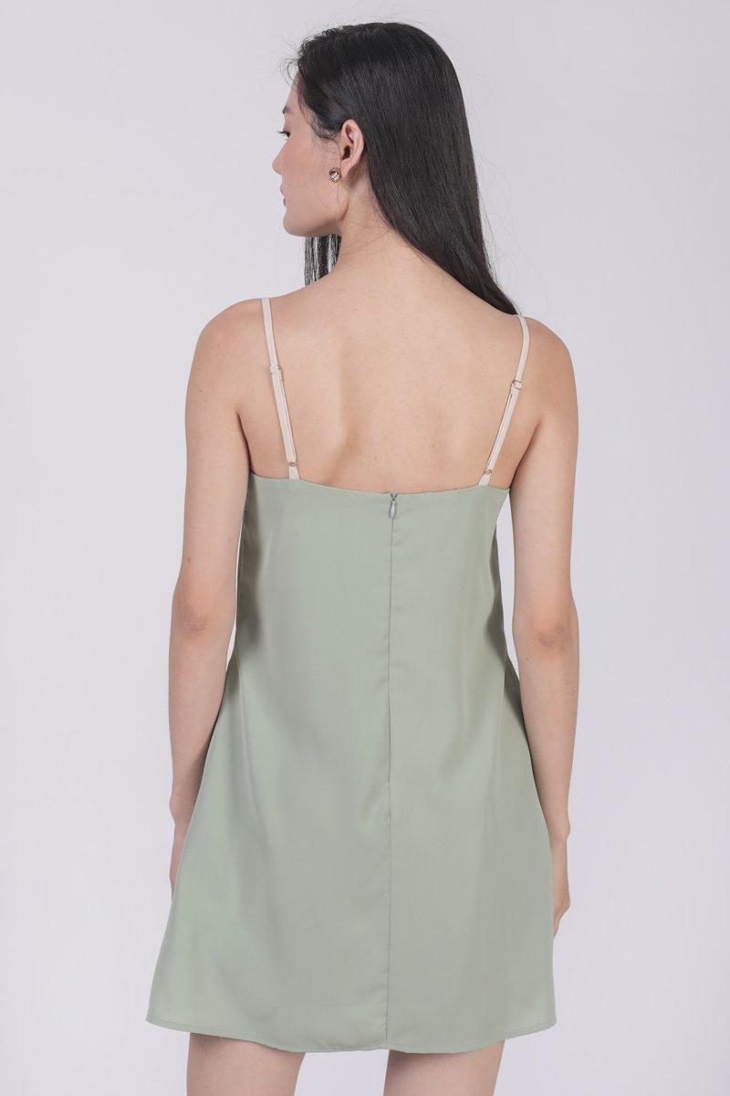 Alfie Contrast Strap Dress (Seafoam)