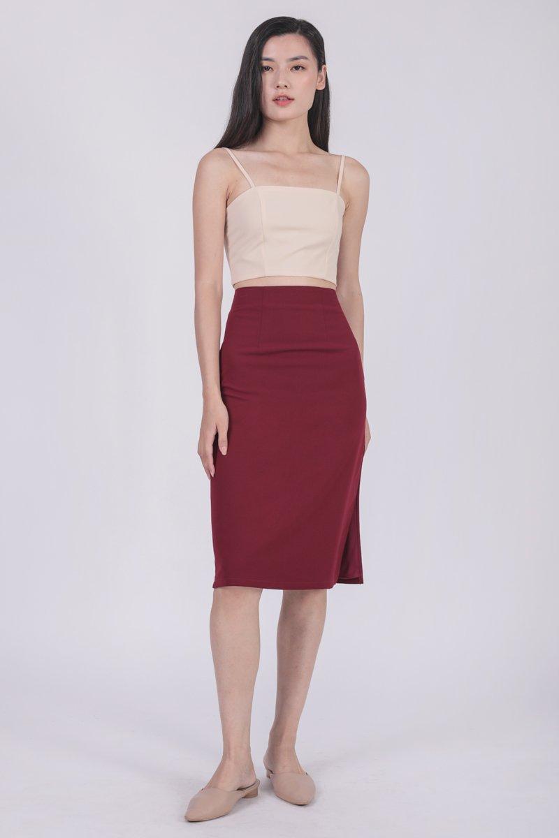 Martha Midi Skirt (Maroon)