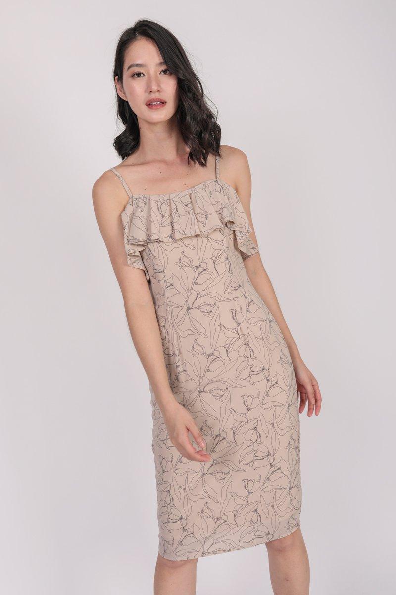 Kerin Ruffles Dress (Nude Florals)