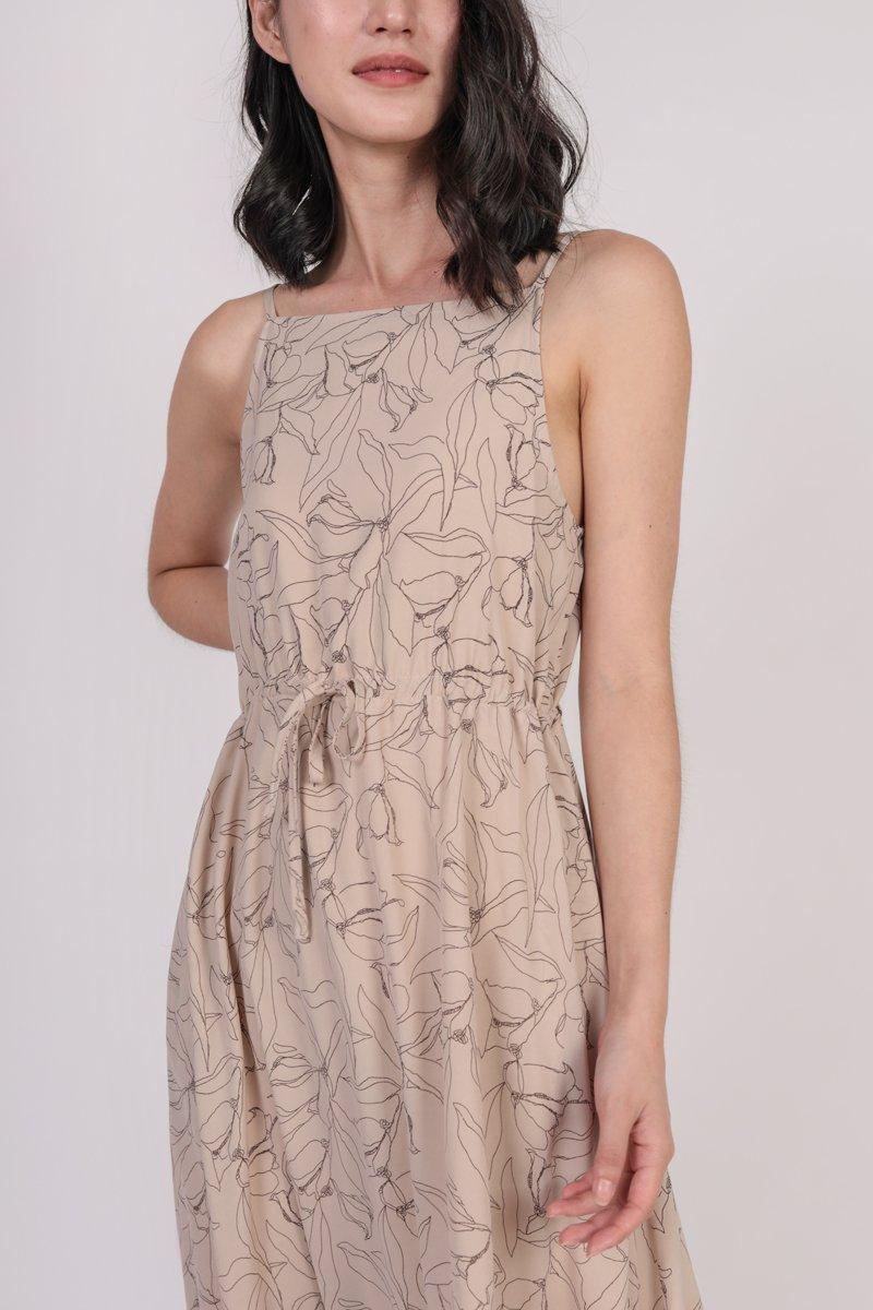 Lilith Drawstring Maxi (Nude Florals)