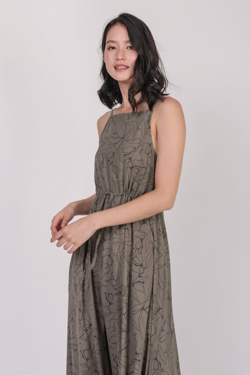 Lilith Drawstring Maxi (Taupe Florals)
