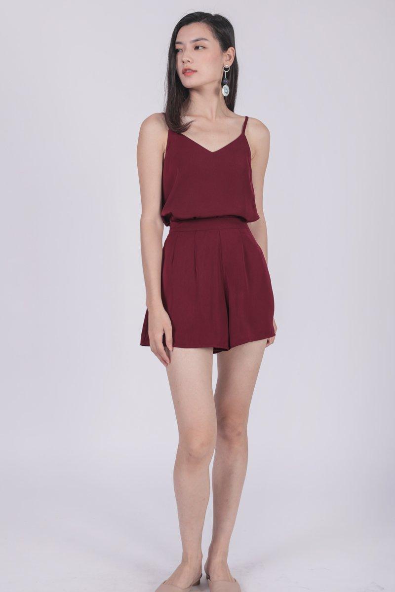 Petal Flare Shorts (Maroon)