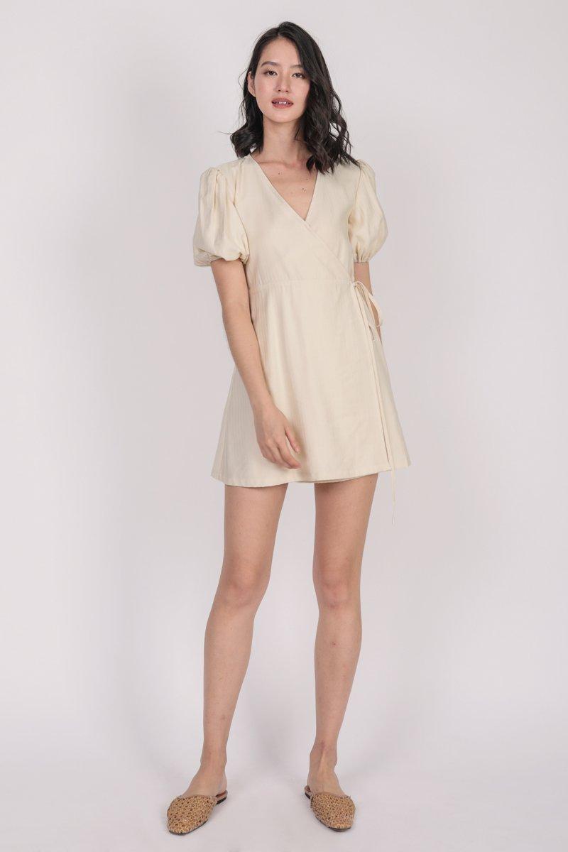 Terri Wrap Front Dress (Cream)