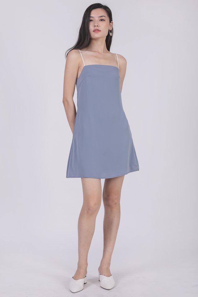 Alfie Contrast Strap Dress (Dusty Blue)