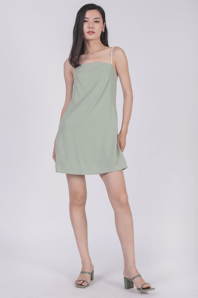 Alfie Contrast Strap Dress (Seafoam)