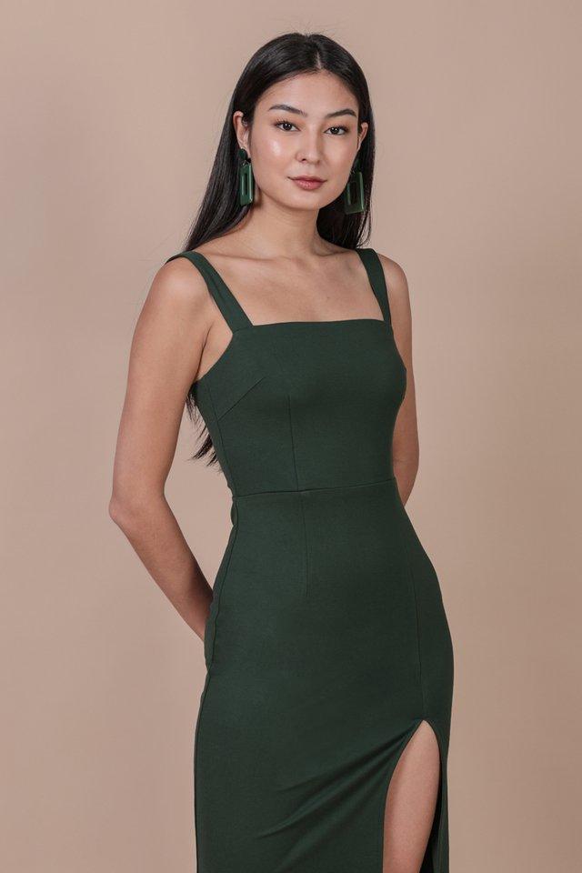 Caris Midi Dress (Hunter Green)