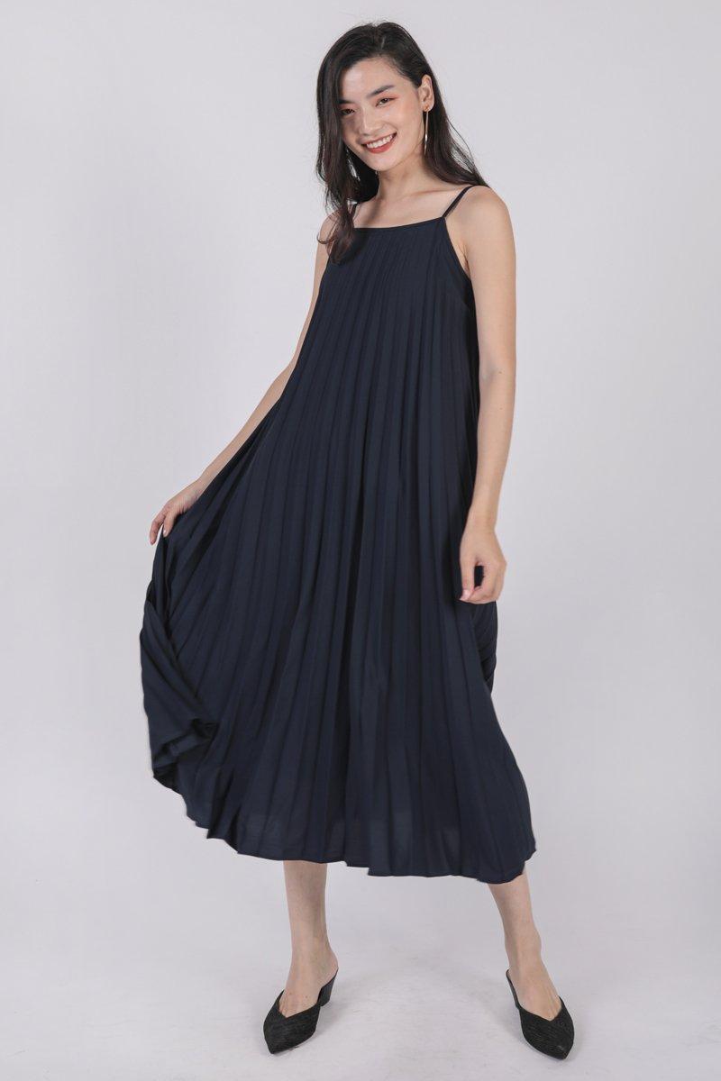 Adina Pleated Dress (Navy)