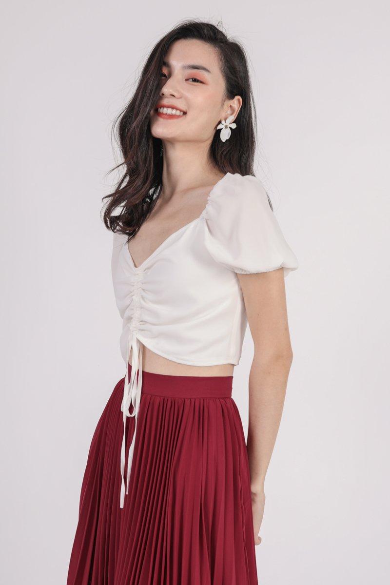 Courtney Pleated Midi Skirt (Cherry)