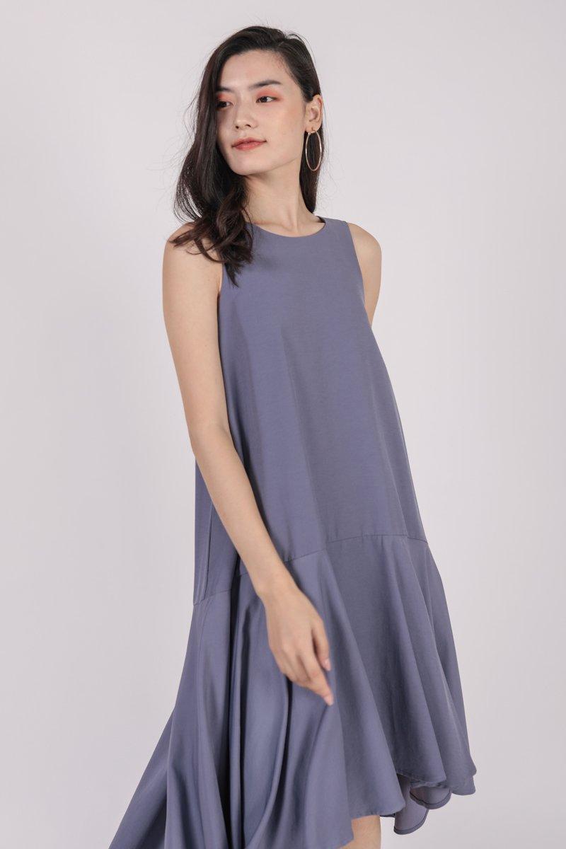 Iva Fishtail Dress (Dusty Blue)