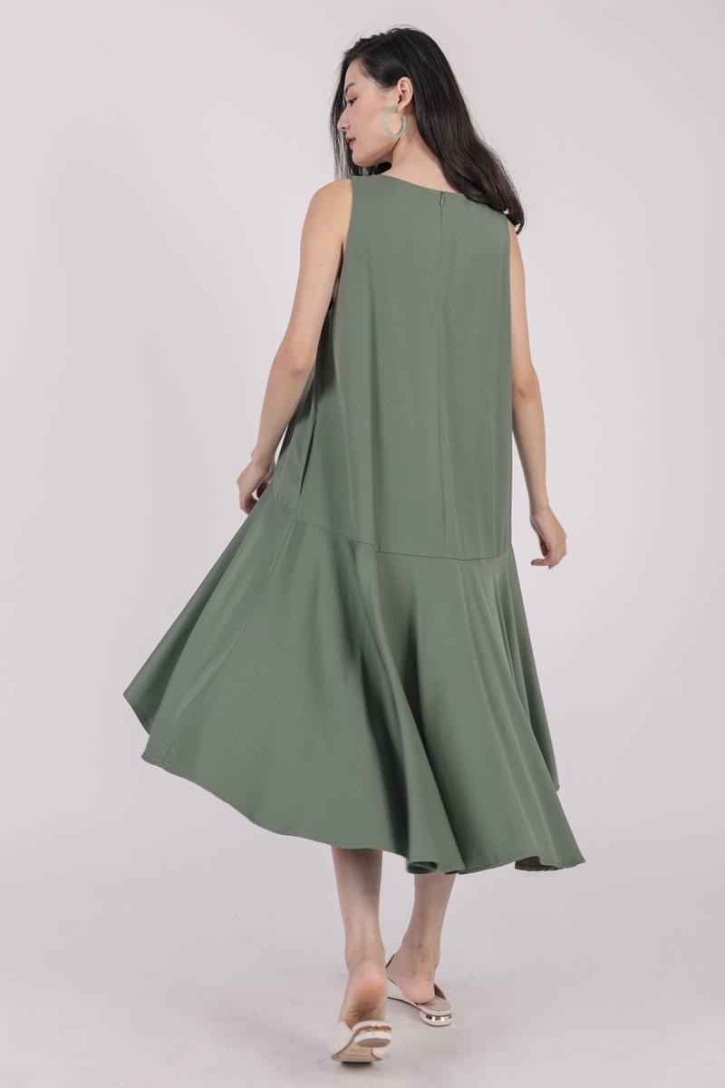 Iva Fishtail Dress (Sage Green)