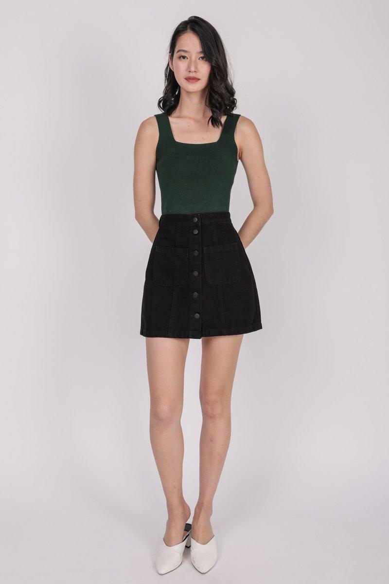 Dalton Denim Skirt (Black)