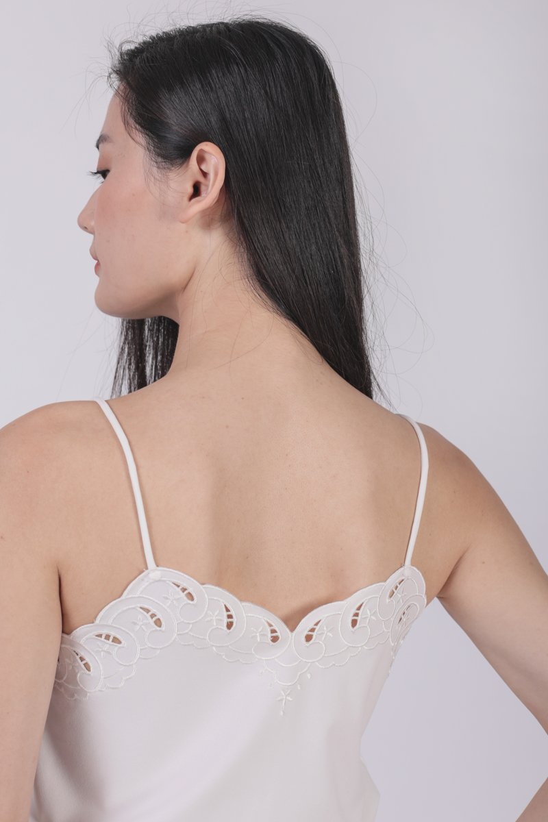 Seth Embroidery Spag Top (White)