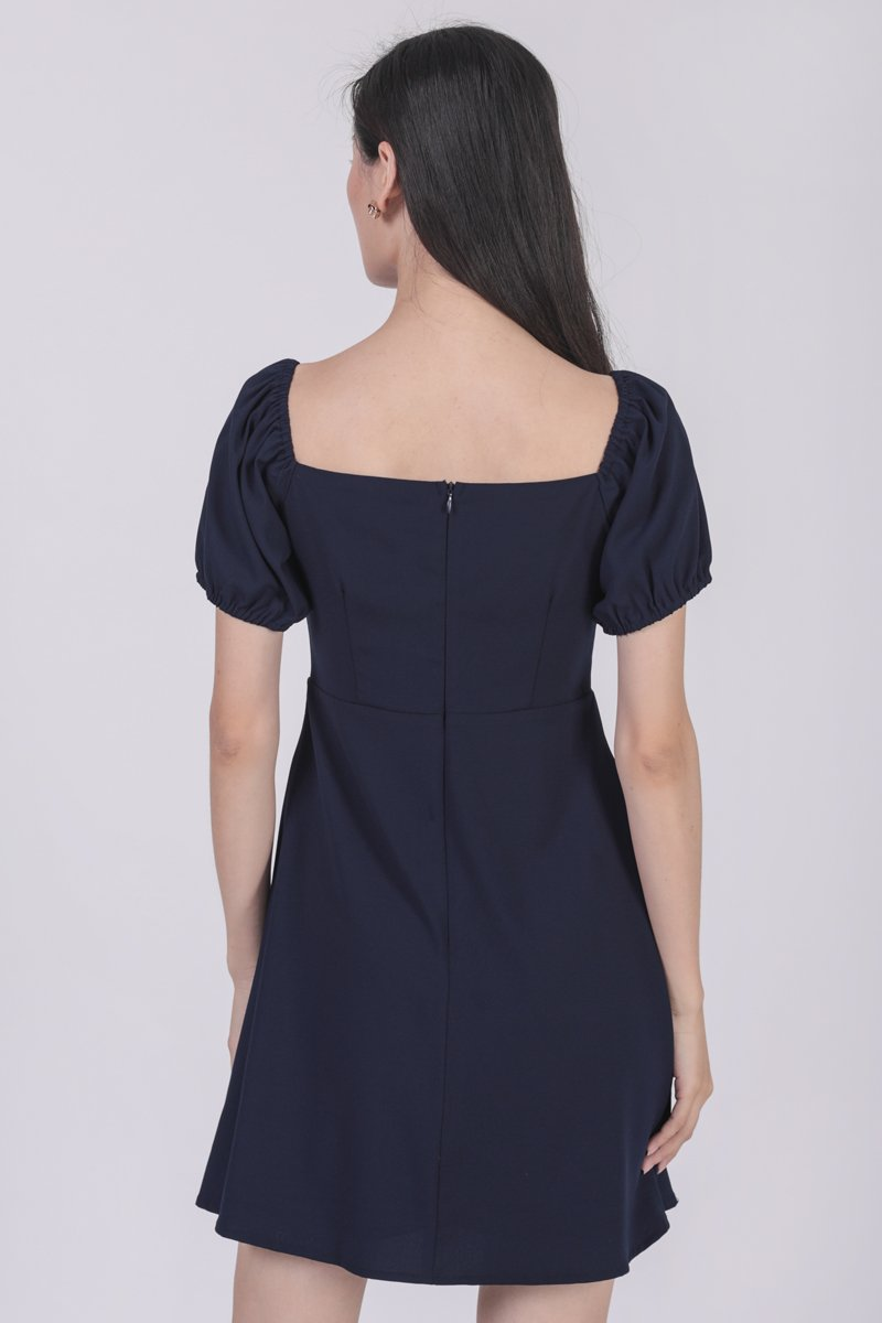 Trisha Puffy Sleeve Dress (Navy)