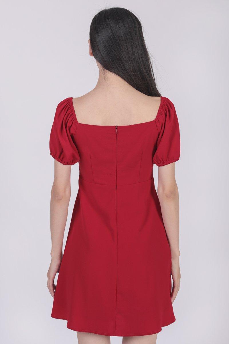Trisha Puffy Sleeve Dress (Red)