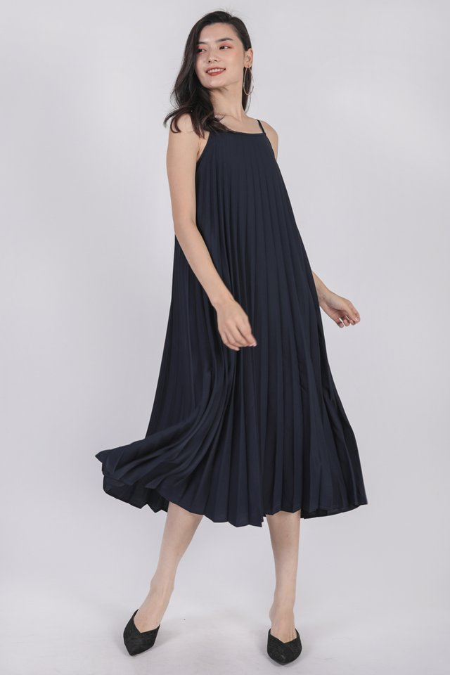 Adina Pleated Dress (Navy)