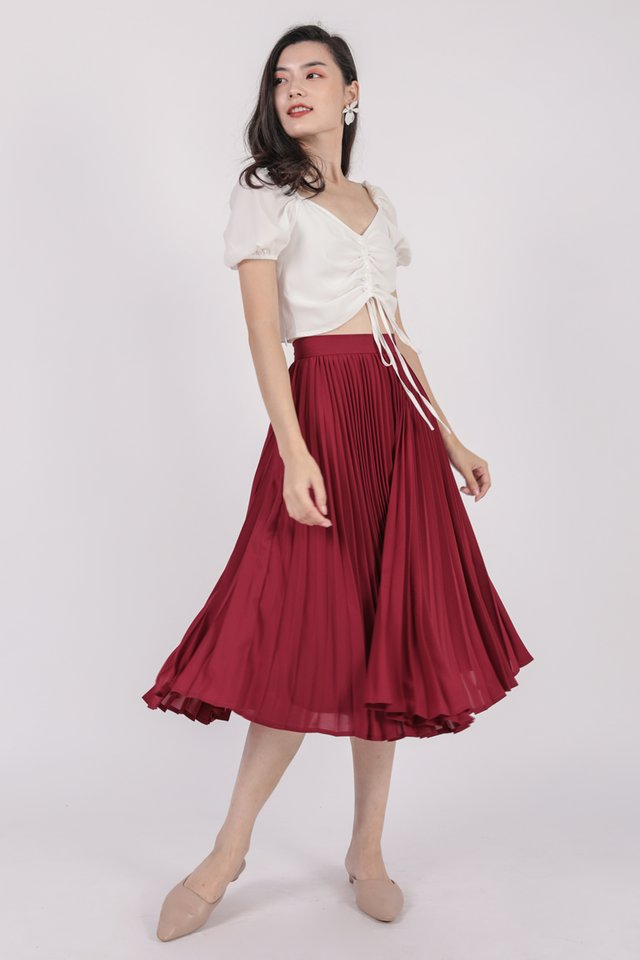 Courtney Pleated Midi Skirt (Cherry)