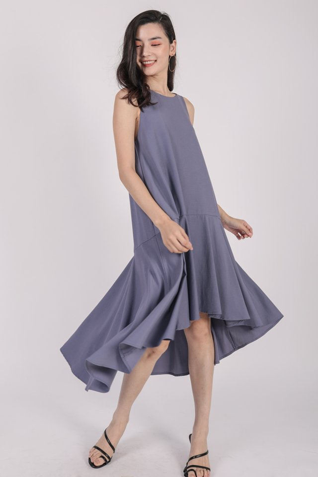 Iva Fishtail Dress (Dusty Blue)
