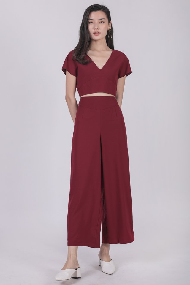 Russo Wide Leg Pants (Maroon)