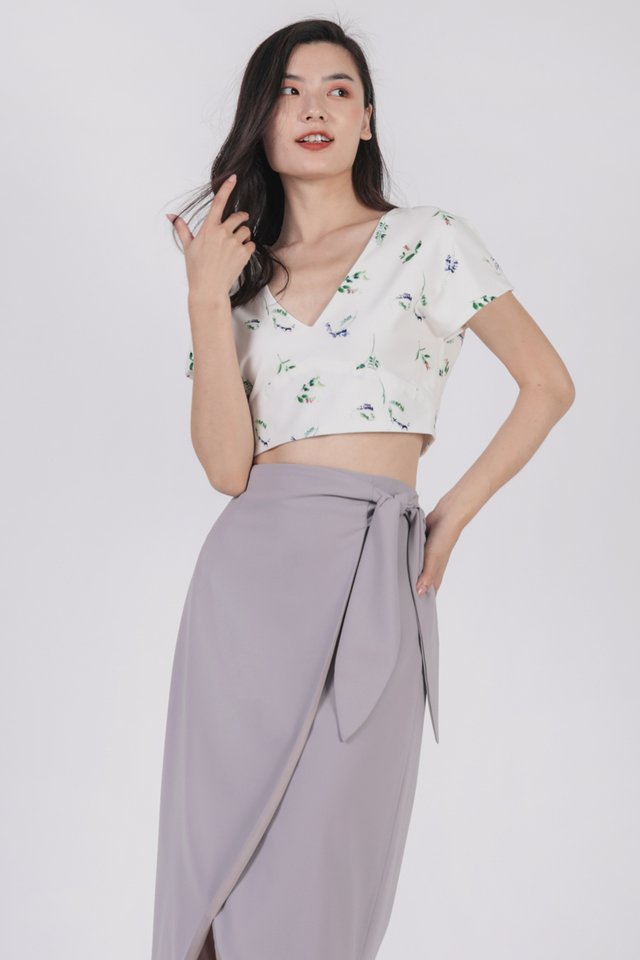 Jun Wrap Skirt (Lilac Grey)