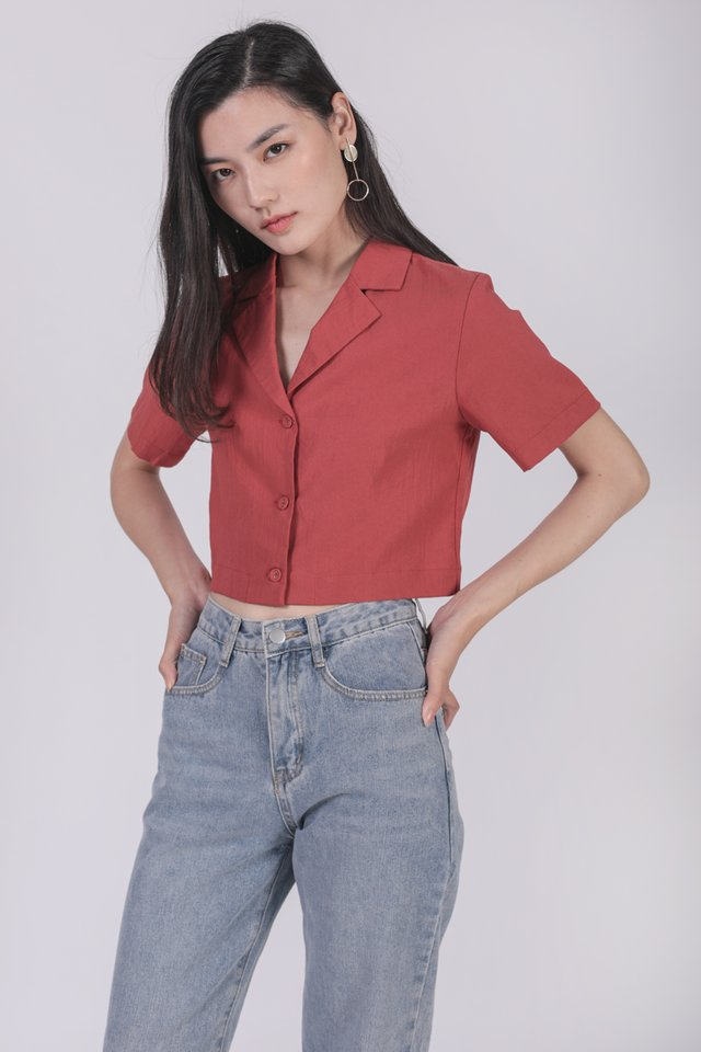 Parco Collared Top (Red)