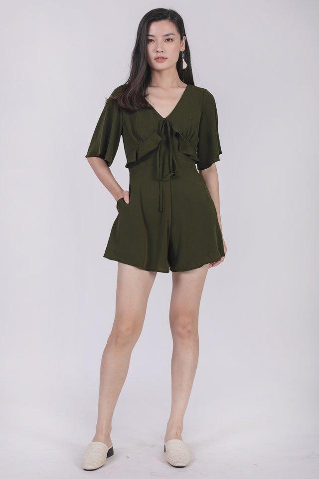 Rosie Sleeved Romper (Olive)