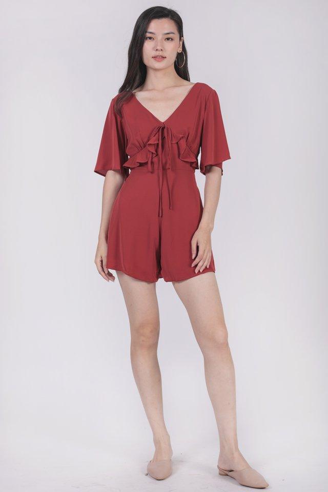 Rosie Sleeved Romper (Red)