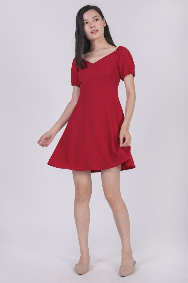 Trisha Puffy Sleeve Dress (Red)