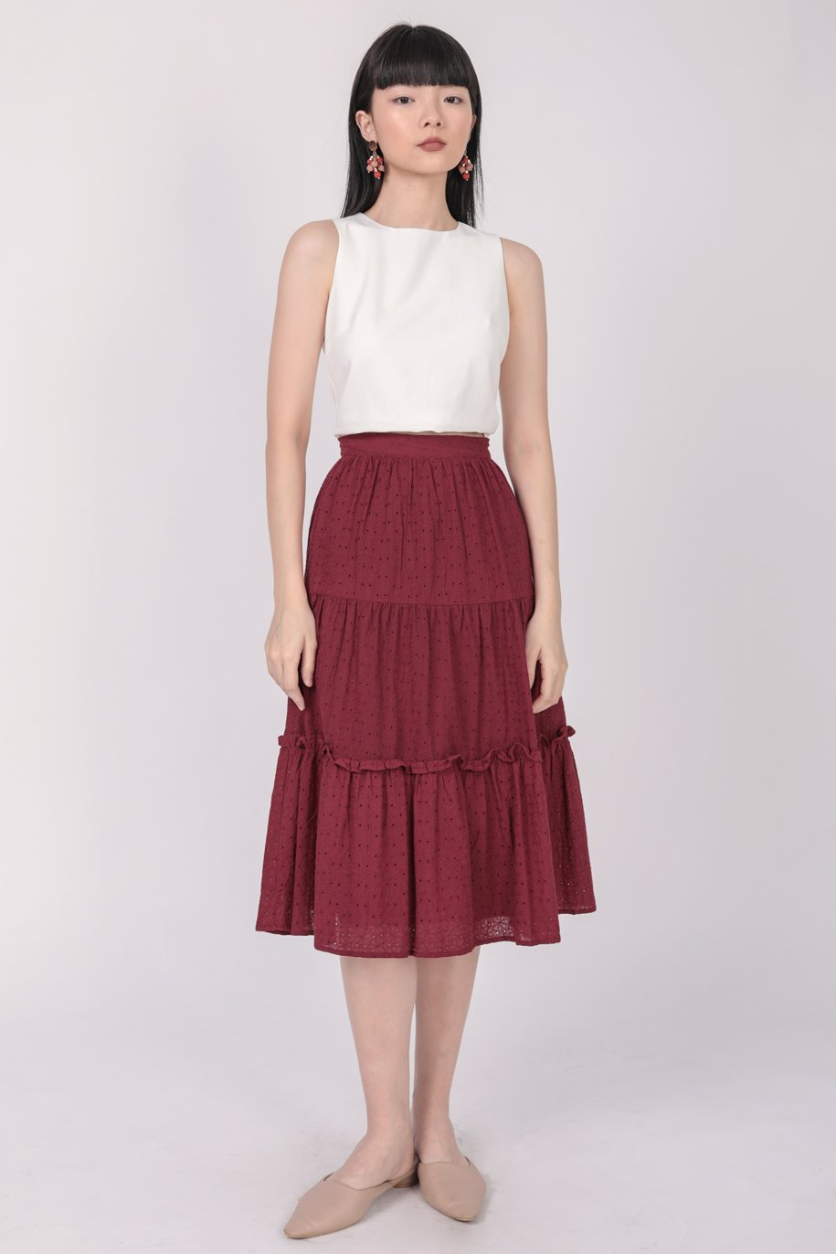 Beverly Tiered Skirt (Maroon Eyelet)
