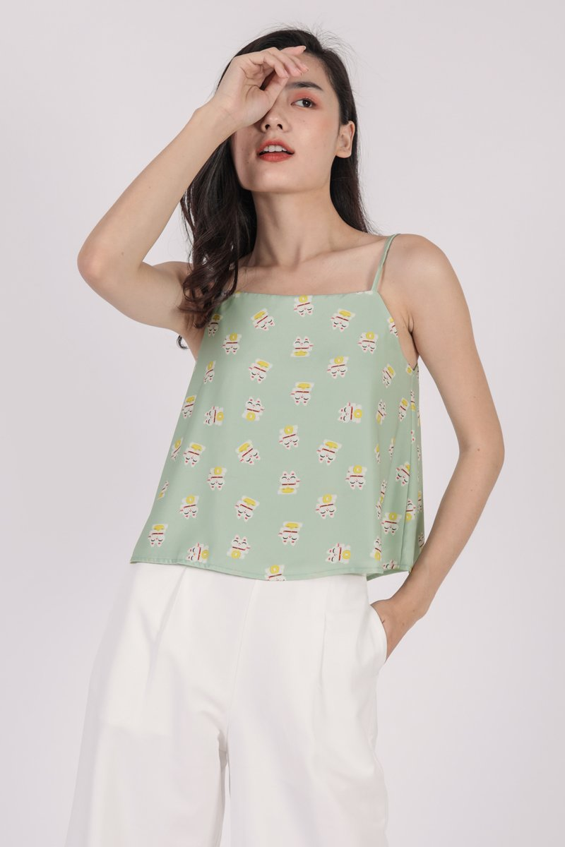 Stella Spag Top (Green Fortune Cat)