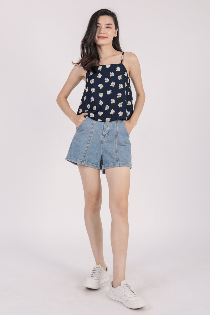 Stella Spag Top (Navy Fortune Cat)