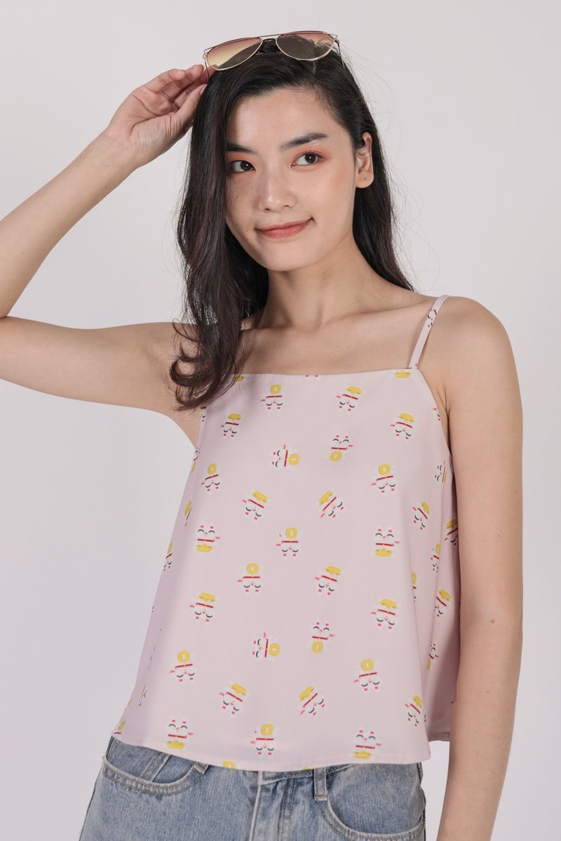 Stella Spag Top (Pink Fortune Cat)