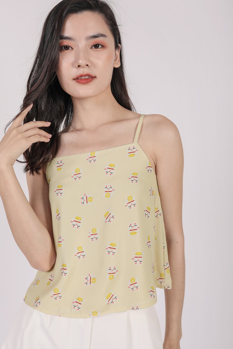 Stella Spag Top (Yellow Fortune Cat)