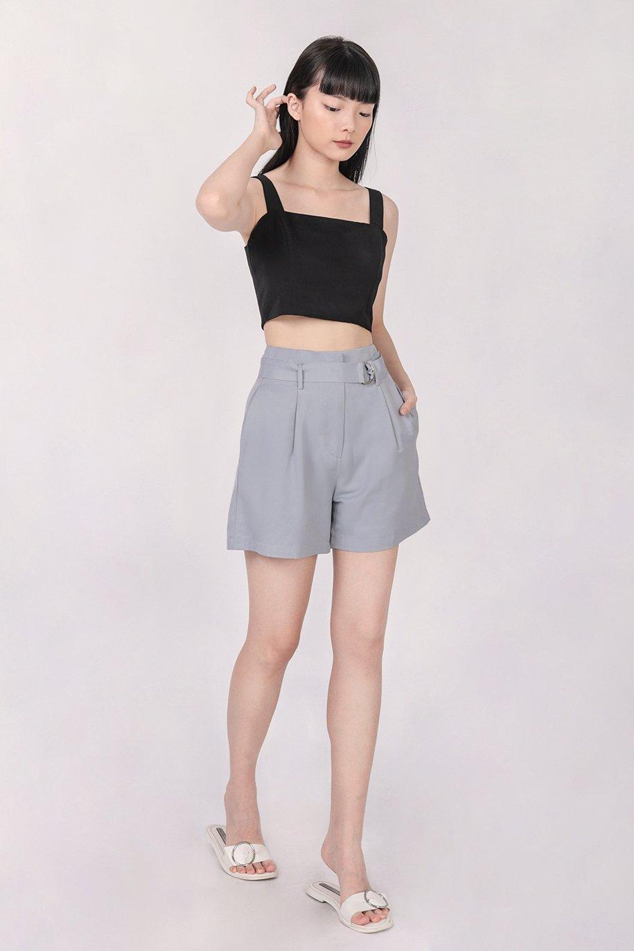 Harris Belted Shorts (Ash Blue)