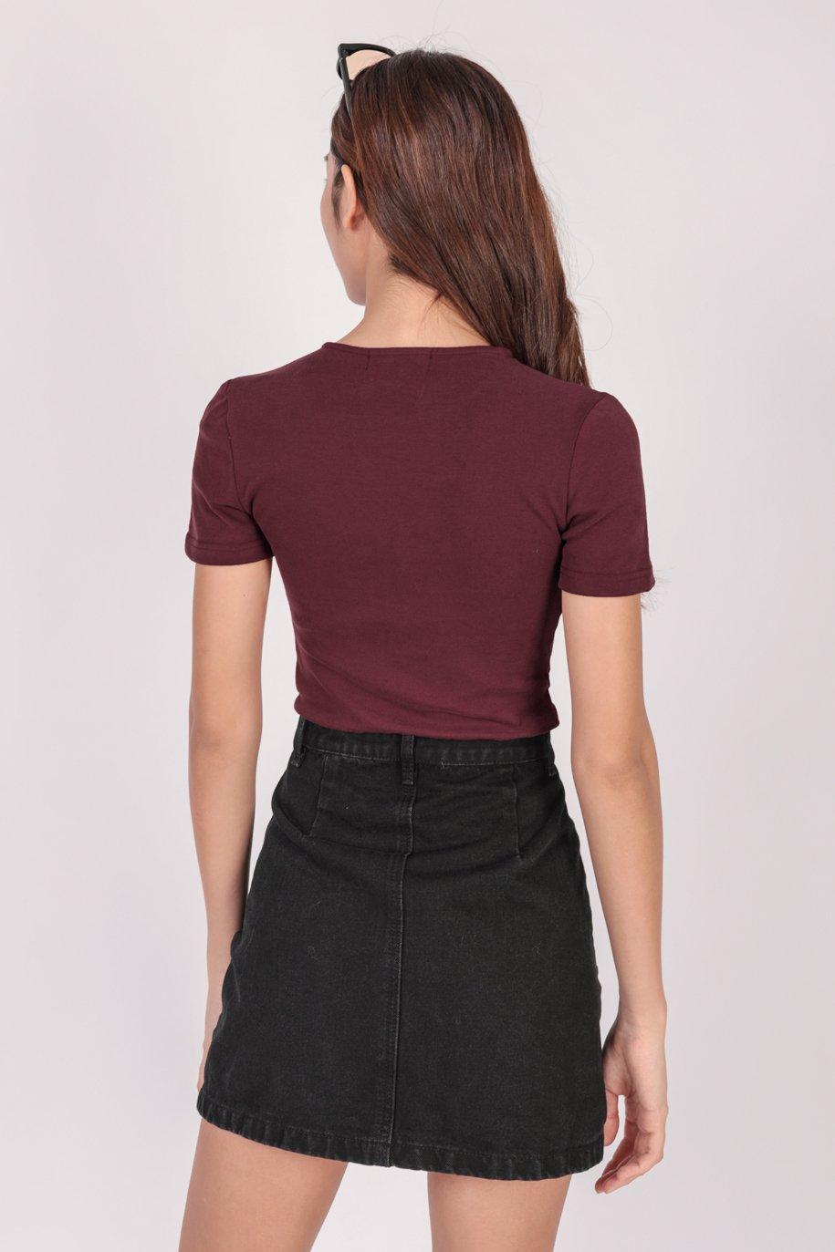 Karol Sleeved Bodysuit (Maroon)
