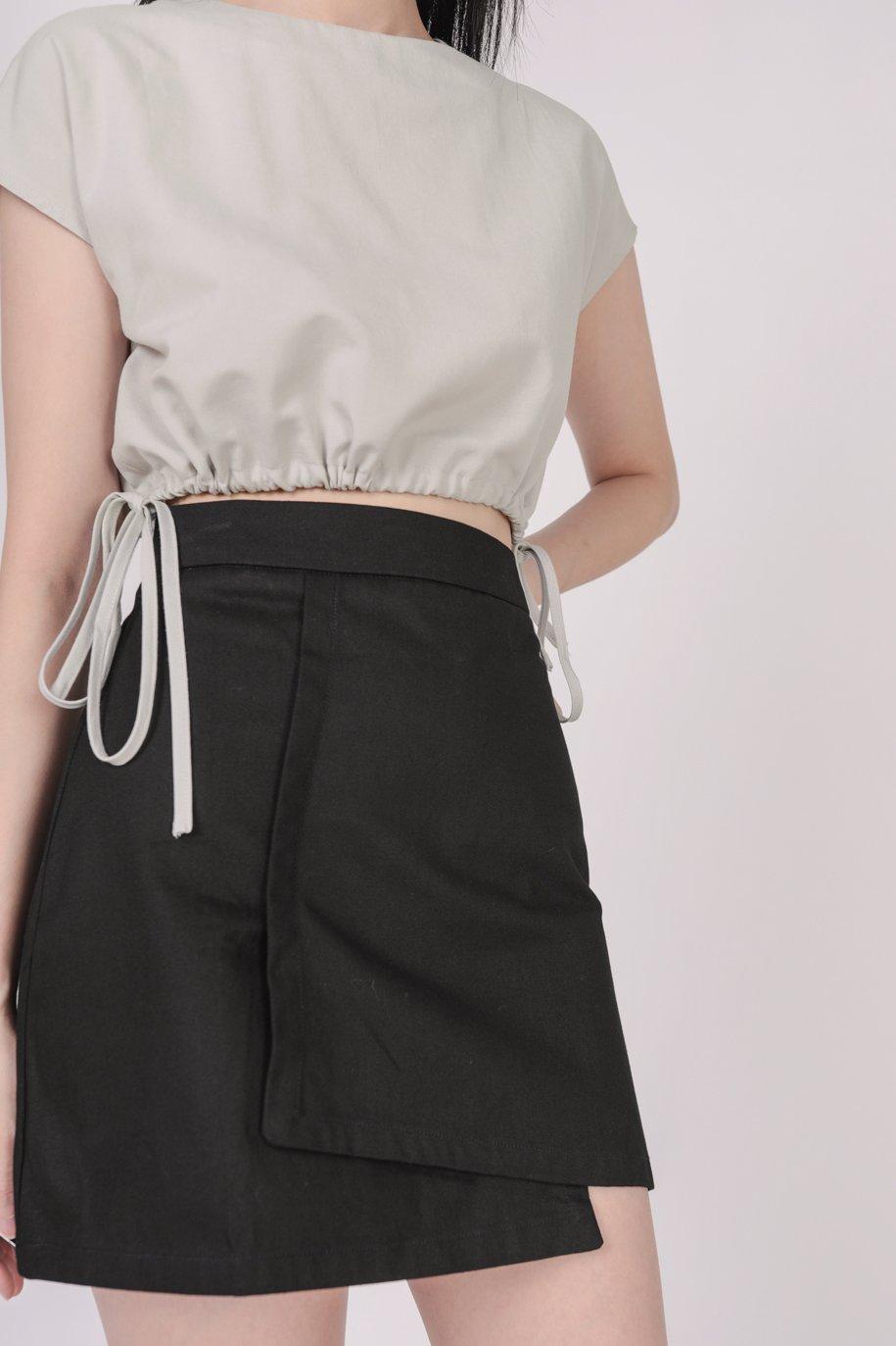 Louie Asymmetrical Skirt (Black)