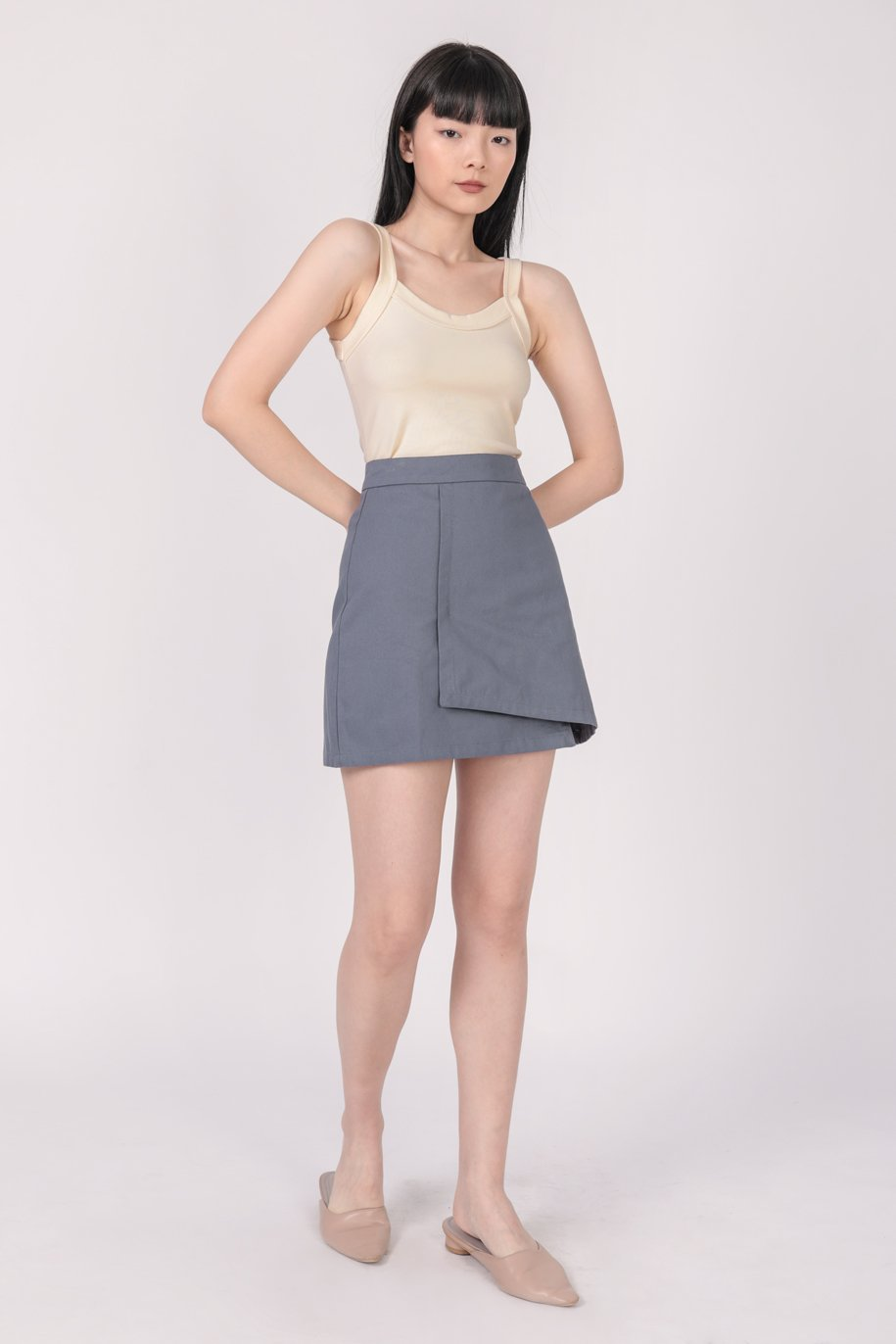 Louie Asymmetrical Skirt (Dusty Blue)