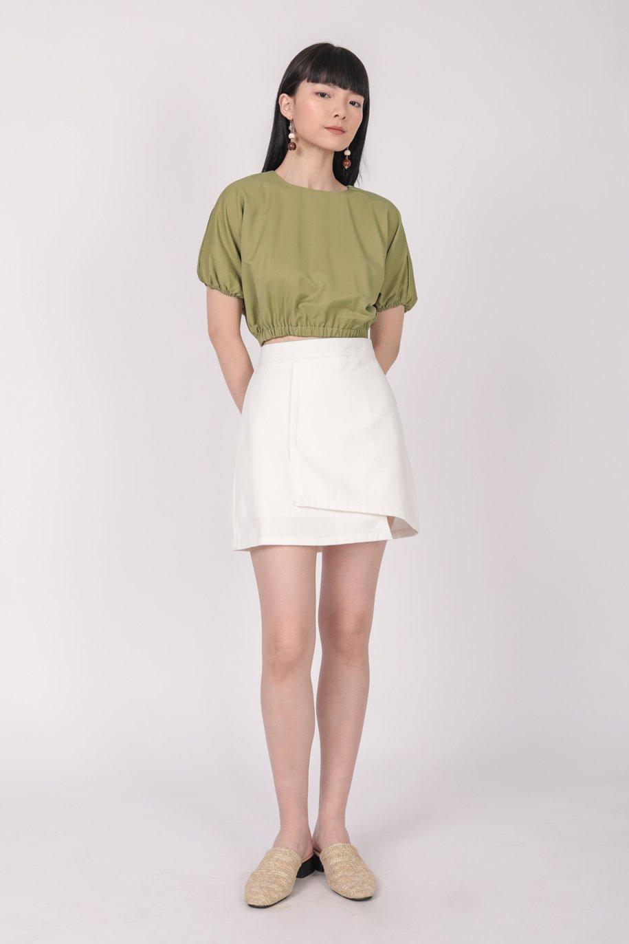 Louie Asymmetrical Skirt (White)