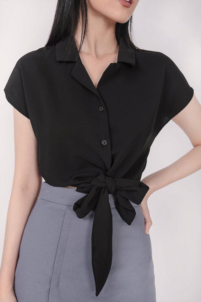 Tori Tie Front Top (Black)