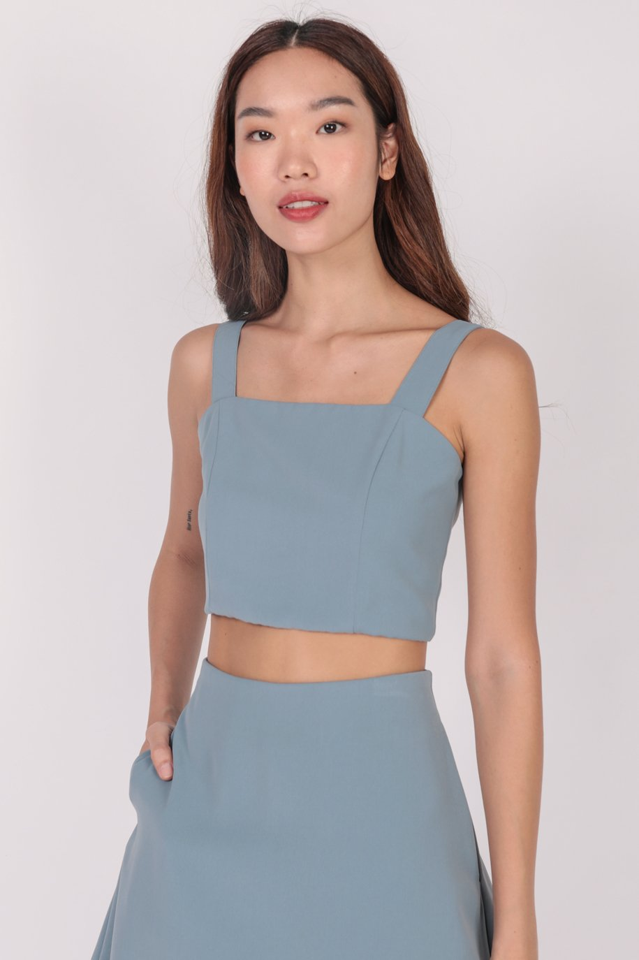 Billy Cropped Top (Dusty Blue)