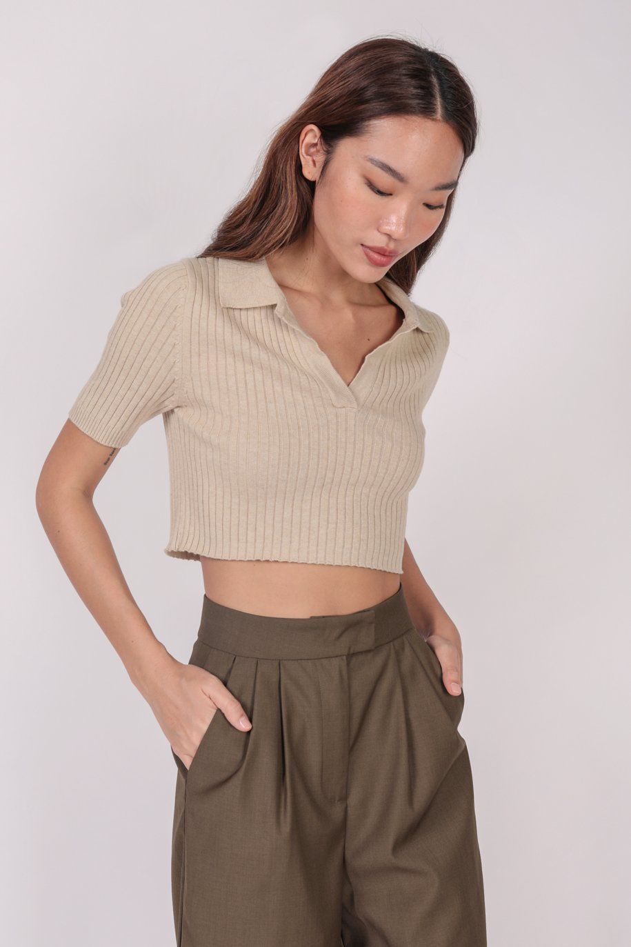 Clyde Collared Top (Wheat)