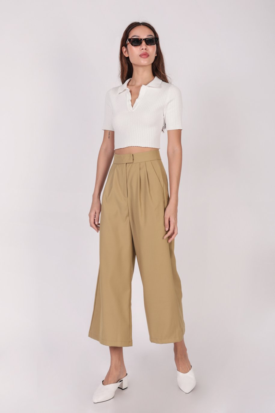 Clyde Collared Top (White)