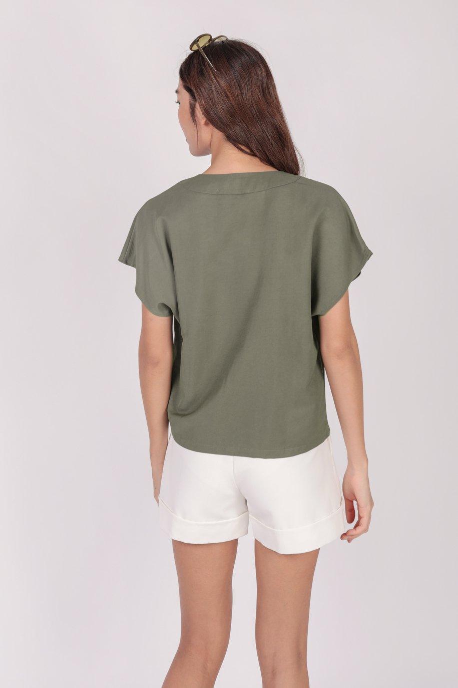 Laurent Sleeved Top (Olive)