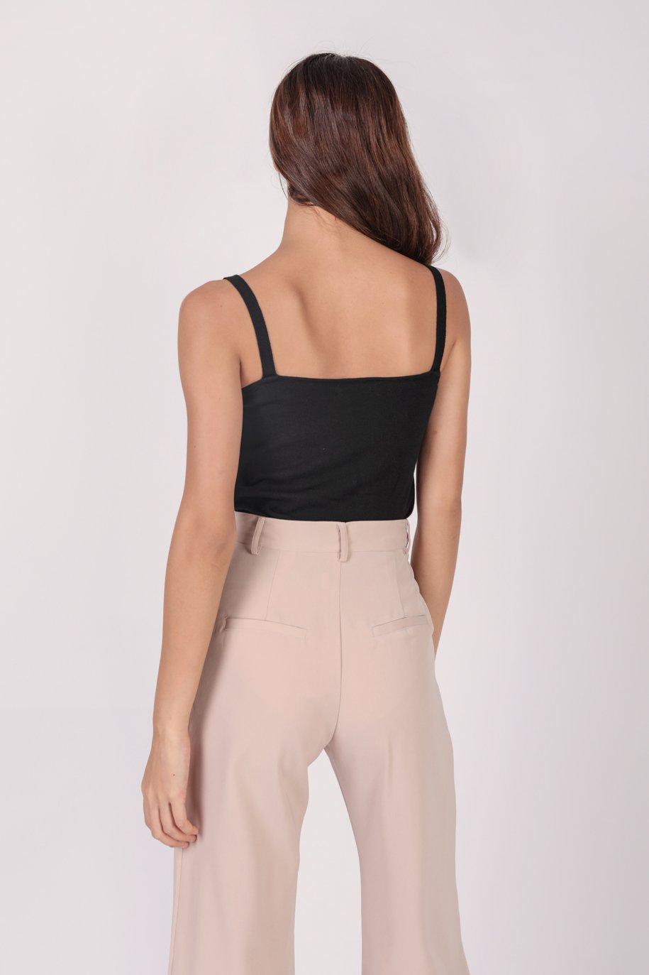 Mara Knit Spag Top (Black)
